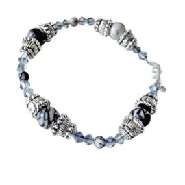 Armband van grijze natuursteen met kristal en tibetaans zilver (18,5 cm)