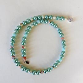 Blauwe parels met slangenhuidsteen en sterling zilver (46,5 cm)