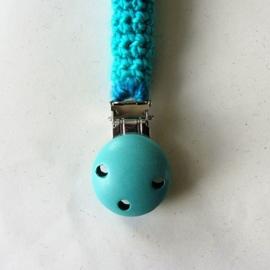 Turquoise speenkoord met aapje en houten clip