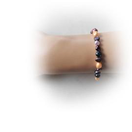 Armband van verschillende kleuren zoetwaterparels (19 cm)