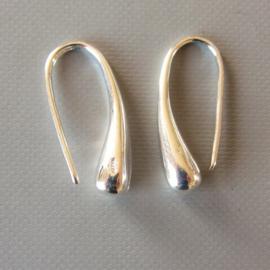 Zilveren druppel oorhangers (lange steker)
