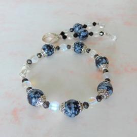 Armband + oorbellen van sneeuwvlok-obsidiaan en maansteen (19 cm)