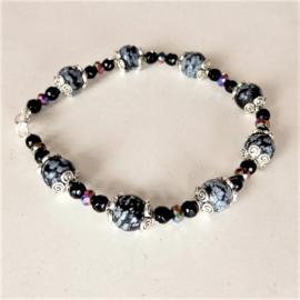 Armband van sneeuwvlok-obsidiaan en kristal (20,5 cm)