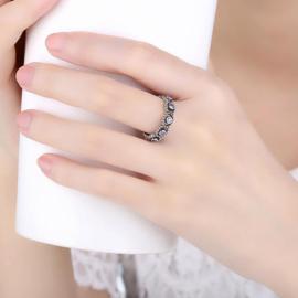 Zilveren ring met kleine steentjes rondom in maat 55 (18) en 57 (19)