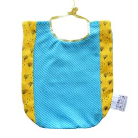Blauw met geel slabbetje