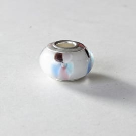Bedel van muranoglas en zilver, lichtblauw met roze