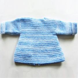 Lichtblauw jasje met een zakje in maat 74