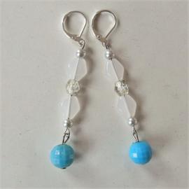 Glaskralen met kristal en hanger van acryl (lichtgewicht)