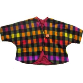 Jasje van geruite fleece met rode katoenvoering (maat 68-74)