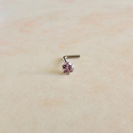 Neusstud van rvs met roze kristal van 3 mm