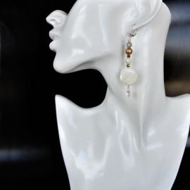 Parelmoer met helder, wit en geïriseerd kristal (8 cm lang)