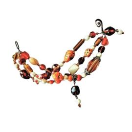 Oranje armband van 3 strengen glas (22 cm lang)