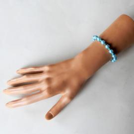 Armband van blauwe parelkralen met turkoois (18,5 cm)