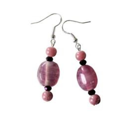 Roze glas met natuursteen en kristal