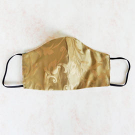 Gouden mondmasker (double face) met dun zwart elastiek