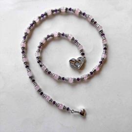 Ketting van rozenkwarts en Indiaas zilver(51 cm)