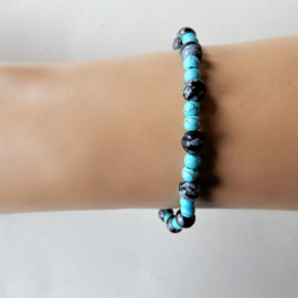 Armband van turkoois met sneeuwvlok-obsidiaan (19,5 cm)