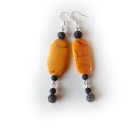 Grote oranje-gele kraal van acryl met lavasteen (superlichtgewicht)