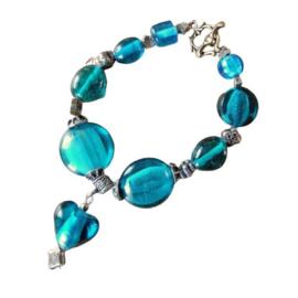 Groen-blauwe armband (21 cm lang)