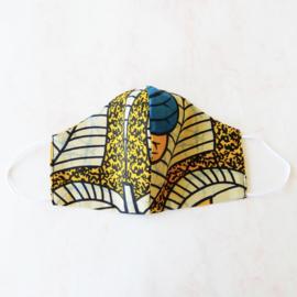 Geel-Blauw mondkapje met dun wit elastiek