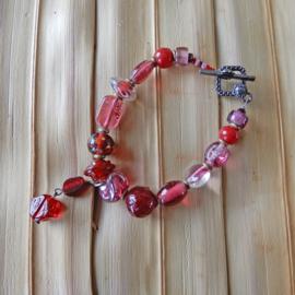 Armband van roze-rood Muranoglas (19,5 cm)