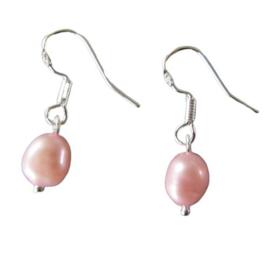 Roze zoetwaterparel met zilver