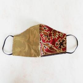 Goud/rood-goud mondkapje (double face) met dun zwart elastiek