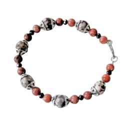 Armband van grijze en roze natuursteen met kristal (19 cm)