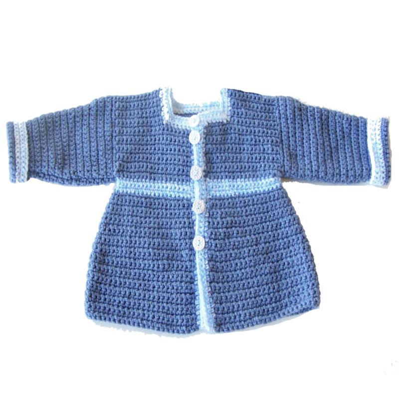 Blauwe jas met een zakje in maat 74