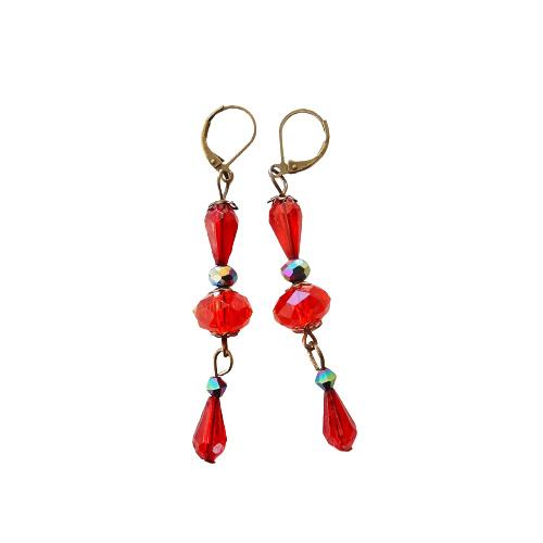 Rood kristal met brons (7 cm lang)