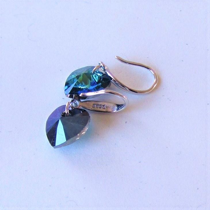 Zilveren oorhangers met blauwe saffier