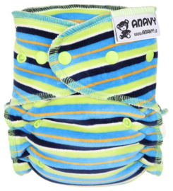 Anavy Bamboo Onesize Snaps - Blue-green stripes