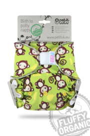 Petit Lulu onesize Fluffy Organic - Monkey business (velcro)
