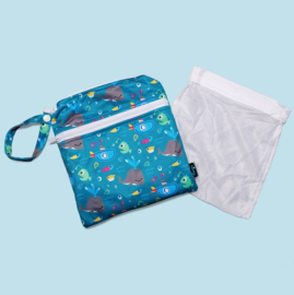 Cheeky Wipes dubbele mini-wetbag met wasnetje - Whale of a time