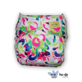 Hu-da Onesize Overbroekje - Rainbow Flowers (Drukknoop)