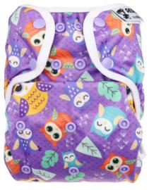Anavy Onesize Overbroekje (drukknoop) - Purple Owls