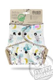Petit Lulu onesize Fluffy Organic - Good Night (drukknoop)