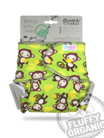 Petit Lulu onesize Fluffy Organic - Monkey Business (drukknoop)