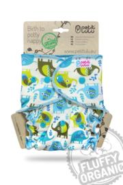 Petit Lulu Maxi/Night Fluffy Organic - Little Elephants - Snaps (7-16kg)