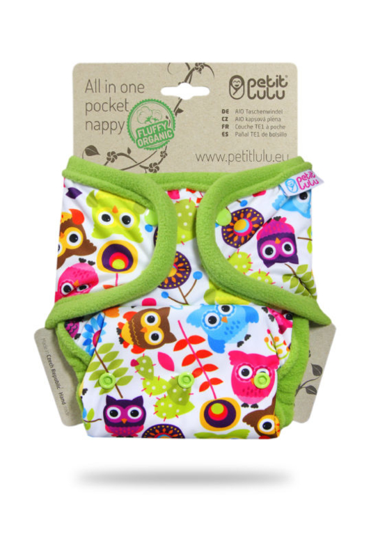 Petit Lulu AIO/Pocketluier Fluffy organic Happy Owls (drukknoop)