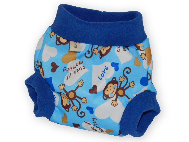 Hu-da PUL-Fleece overbroekje - Monkey blue