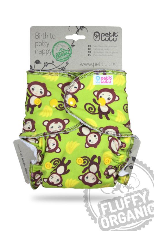 Petit Lulu Maxi/Night Fluffy Organic - Monkey - drukknopen (7-16kg)