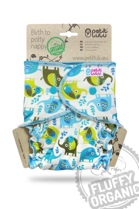 Petit Lulu onesize Fluffy Organic Little Elephants (drukknoop)