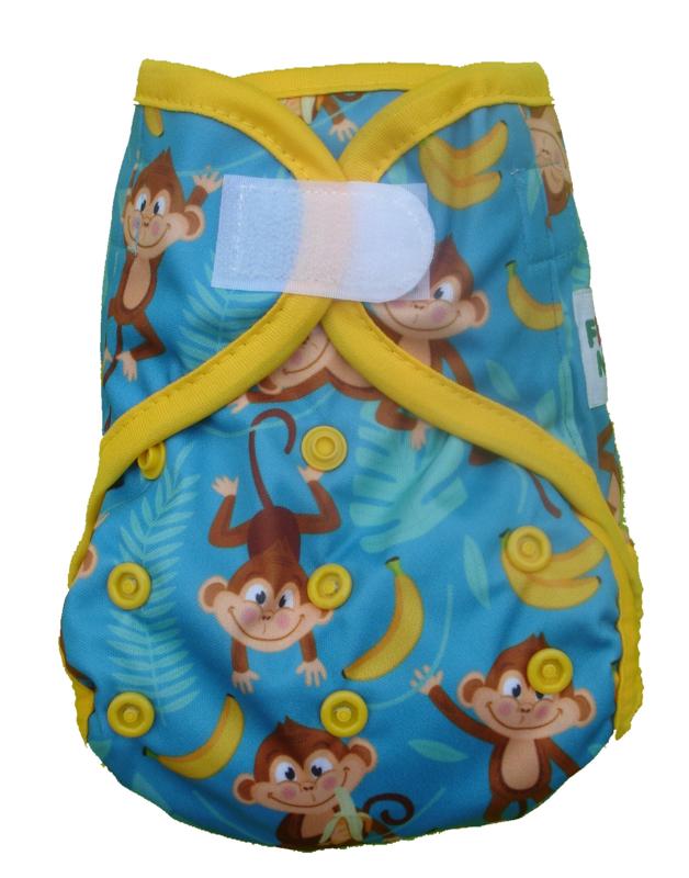 Fluffy Nature Newborn PLUS Überhose (2,5-6,5 kg) - Blue Monkey