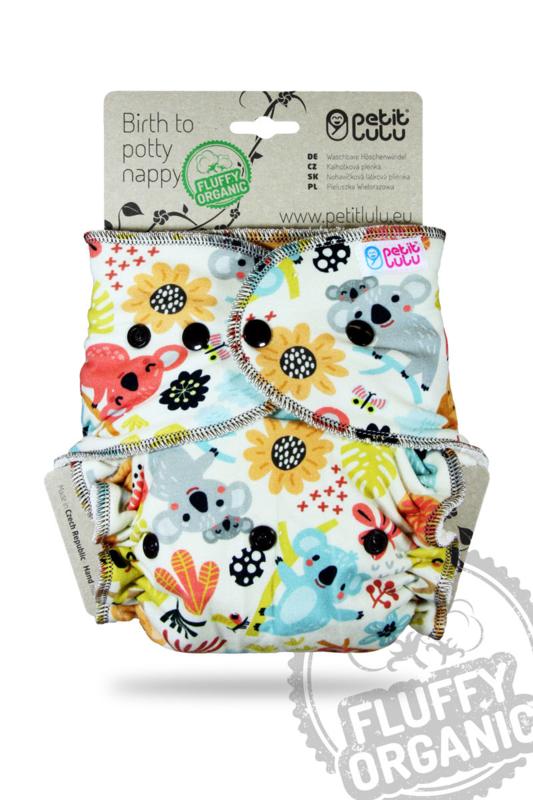 Petit Lulu onesize Fluffy organic - Koala (drukknoop)