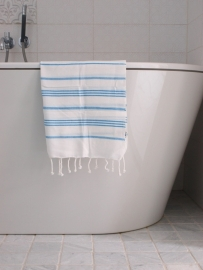 hamam handdoek wit/turquoise S
