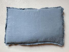 Malaga kussenhoes,  stonewashed linnen,  Grey Blue