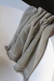 Carine handdoek met gehaakt randje en franje, Sand, 30x50cm