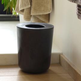 Waste Bin in Bamboo Fibre, Black