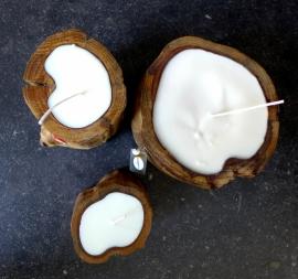 kaars in boomstronk gevuld met soja was,recyclebaar